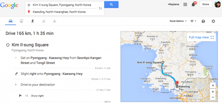 Screen Shot 2014 05 28 at 3.24.39 pm 730x343 Planning a driving holiday in North Korea? Google Maps now serves up GPS navigation