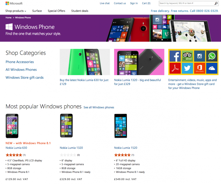 Screen Shot 2014 05 30 at 13.25.47 730x610 You can now buy a trio of Nokia Lumia handsets from Microsofts online store in the UK
