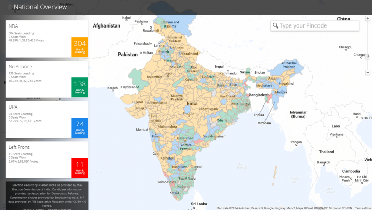 Screenshot 2014 05 16 12.40.52 730x416 Googles India election map lets you watch the votes roll in from the worlds largest democracy