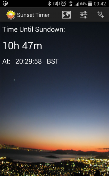Screenshot 2014 05 05 09 42 311 220x355 How long til nightfall? Let SunSet Timer for Android tell you.