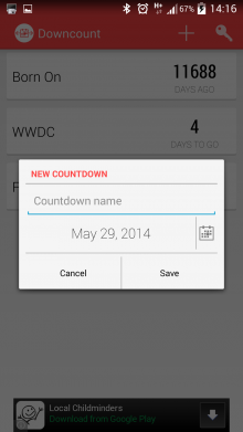 Screenshot 2014 05 29 14 16 23 220x391 Downcount for Android is a simple way to count down to any event