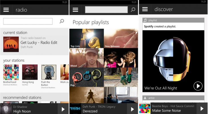 SpotifyWindowsPhone 730x399 Spotifys Windows Phone app gets with the times, now offers Radio, Browse and Discover features