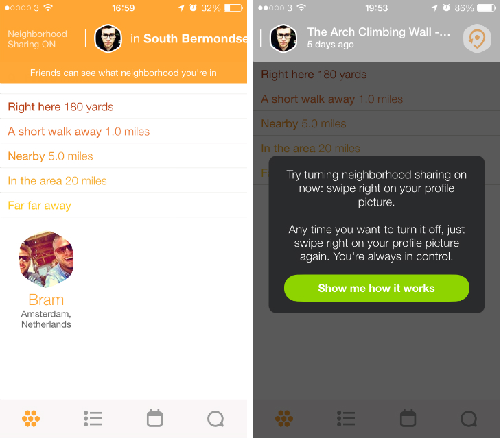 Swarmbside1 Back to basics: Swarm redefines the Foursquare check in to help you meet nearby friends