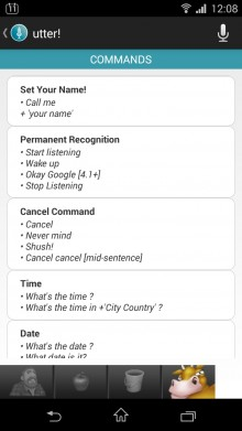 Utter Commands List 220x391 How to master voice control on Android: Going beyond Google Now