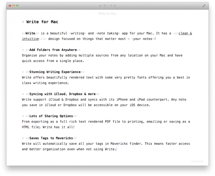 Write Distraction Free Screen 730x599 Write brings its gorgeous, minimalist note taking app to the Mac