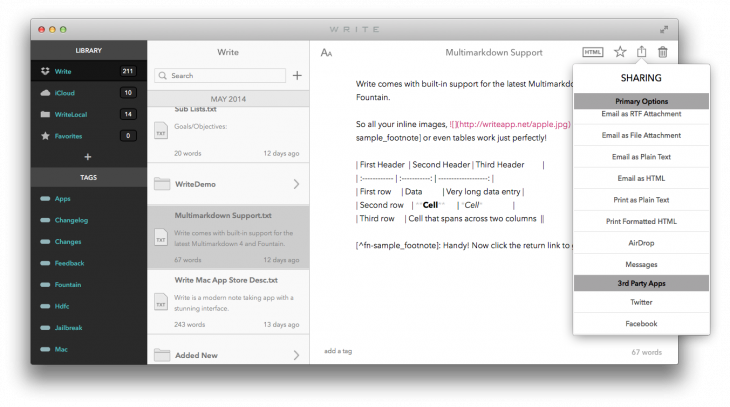 Write Mac Sharing Menu 730x407 Write brings its gorgeous, minimalist note taking app to the Mac