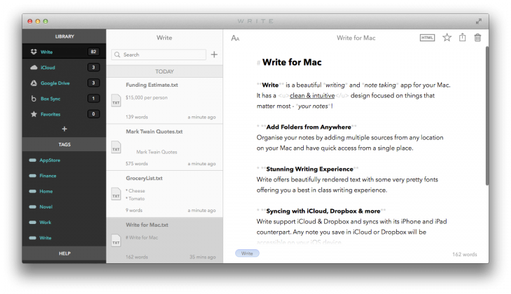 Write MainScreen 730x420 Write brings its gorgeous, minimalist note taking app to the Mac