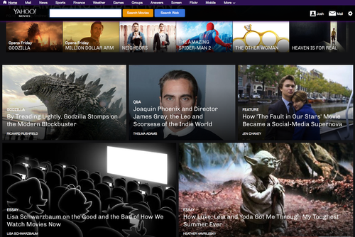 YahooMovies Yahoo Movies relaunches as a digital magazine with trailers, behind the scenes scoops, and red carpet galleries