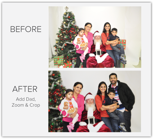 best photo editing before and after christmas retouched add a person to family photos PicTricks emerges from beta to let real humans fix your photos