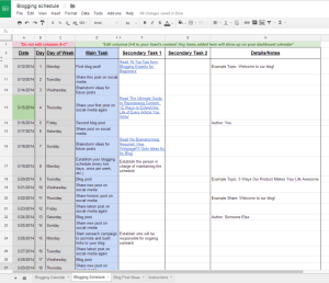 blogging schedule 1024x883 300x258 The guide to choosing a content calendar: Tools, templates, tips and more