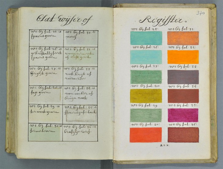 colors 1 1 730x555 This 17th century hand painted art book bears an uncanny resemblance to the Pantone system