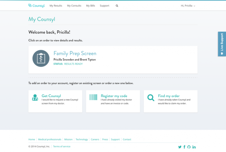 counsyl 730x492 Health startup Counsyl launches an inherited cancer screening and a medical record platform