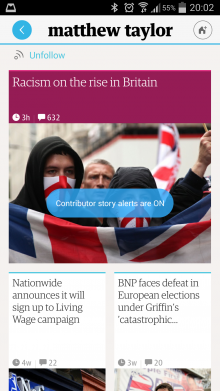 f1 220x391 The Guardian gets personal with slick, redesigned adaptive mobile apps