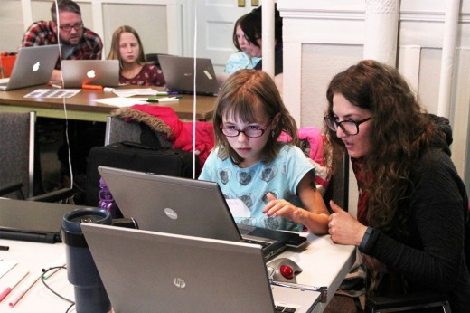 girls learning code