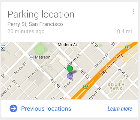 google now parking Google Now gets a parking detector to remind you where you left your car