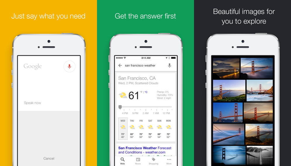 google search ios Google Search for iOS now lets you ask casual questions via voice, gets more Google Now cards and speed boost