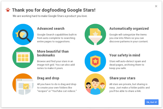 google stars splash Leaked Google Stars video and screenshots show built in search, filter, folder, security, and sharing features