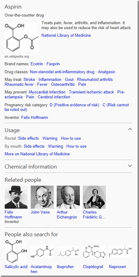 Bing Adds Snapshot Information for Drugs and Food