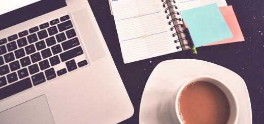 laptop coffee notebook