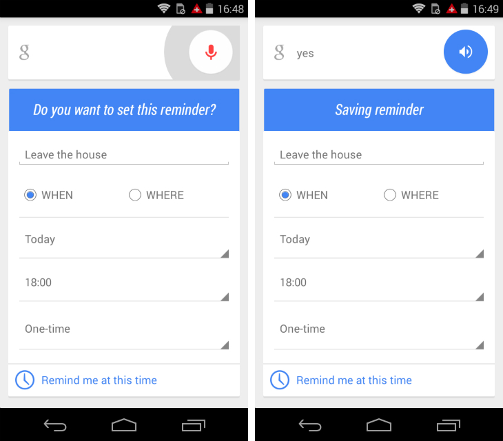now1 Google Now for Android lets you set new reminders with just your voice