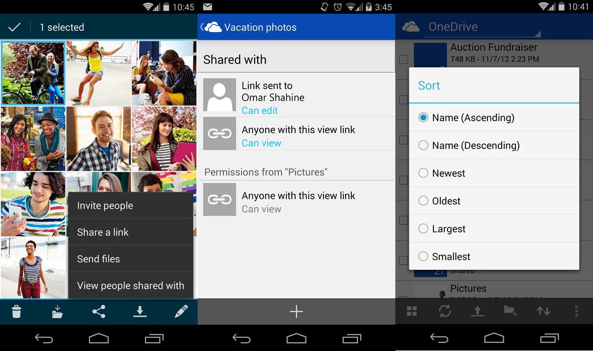 onedrive android update OneDrive gets bigger thumbnails, custom covers, video posting to Facebook, better sharing on Android, and more