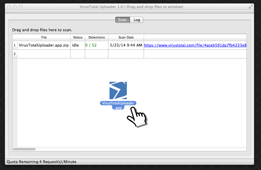 osx app screen Google releases VirusTotal Uploader for OS X, hopes more malware submissions will beef up Mac security