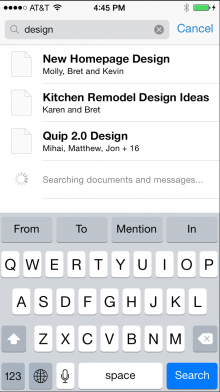 quip 2 search 220x392 Quip 2.0 arrives with read only publishing, search operators and Word doc exporting