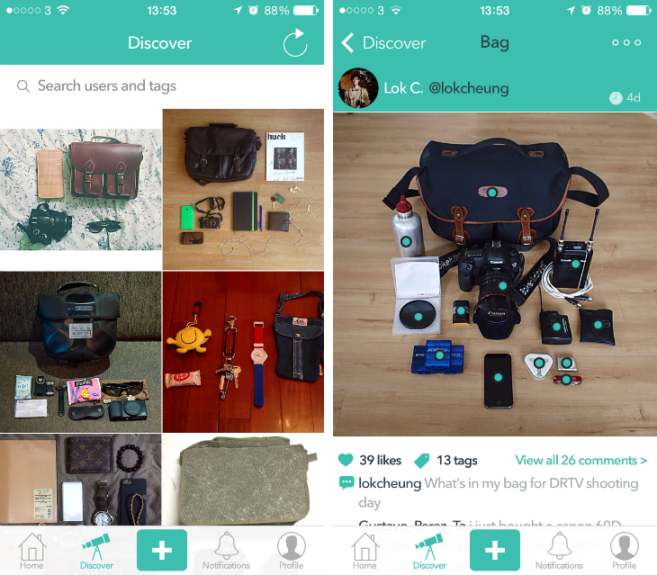 sakoos2 Sakoos for iOS is a photo sharing app that answers one simple question: Whats in your bag?