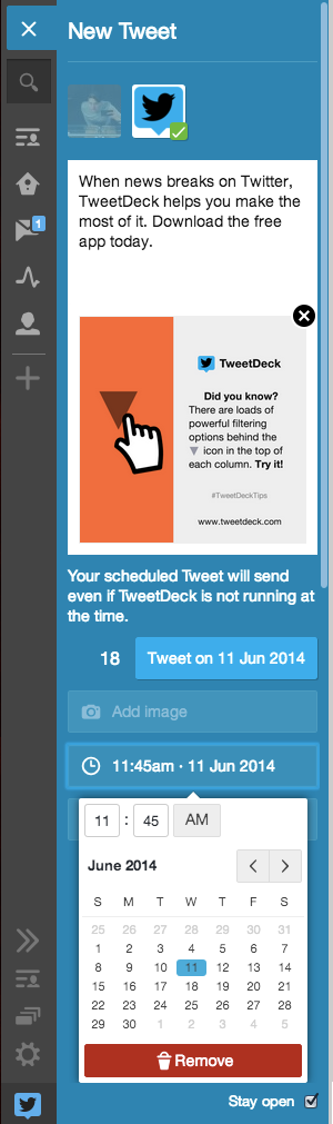 schedule tweets Tweetdeck now lets you add images to scheduled tweets and manage them across shared accounts