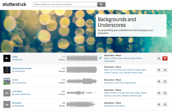 shutterstock music 1 730x475 Shutterstock branches out into music with a simple license of $49 per track