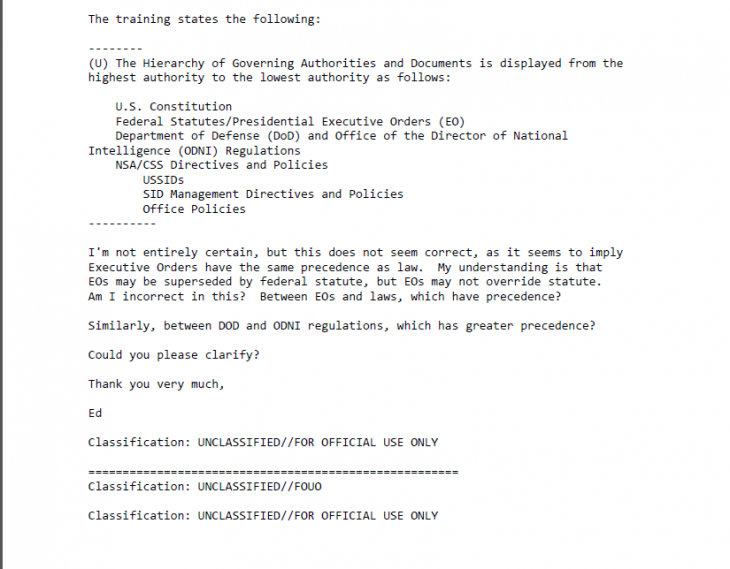 snowden emails 730x569 The NSA publishes the email Edward Snowden sent to question legal authority [Update]
