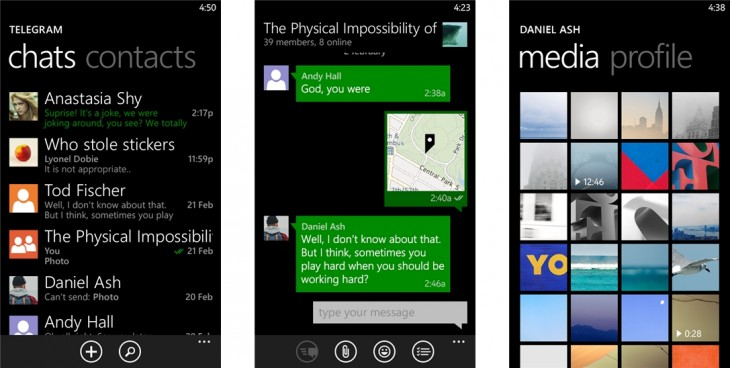 telegram wp 730x368 WhatsApp rival Telegram gets an official app for Windows Phone