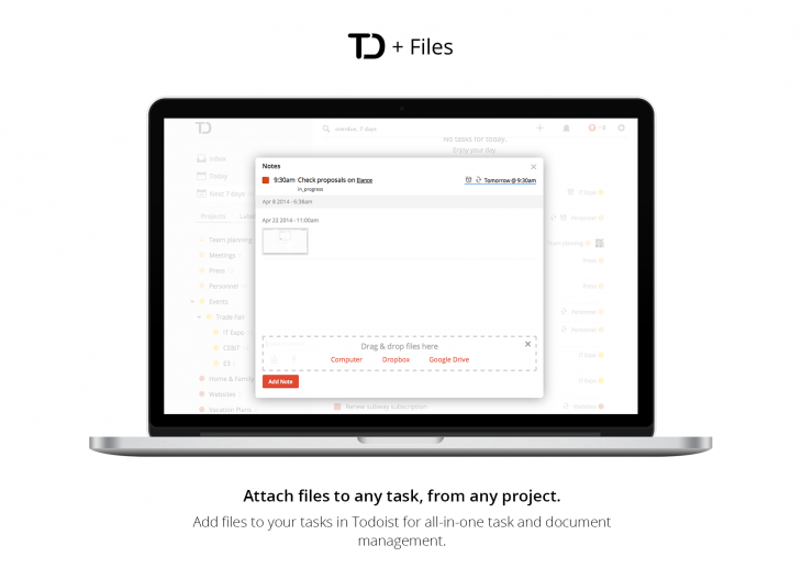 todoist 730x527 Todoist boosts its task management apps with support for Google Drive and Dropbox file attachments