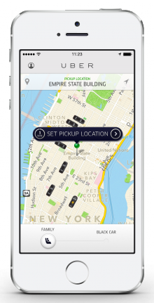 uberFAMILY map screen 220x431 Uber launches uberFAMILY, a pilot service in NYC that uses cars with child seats