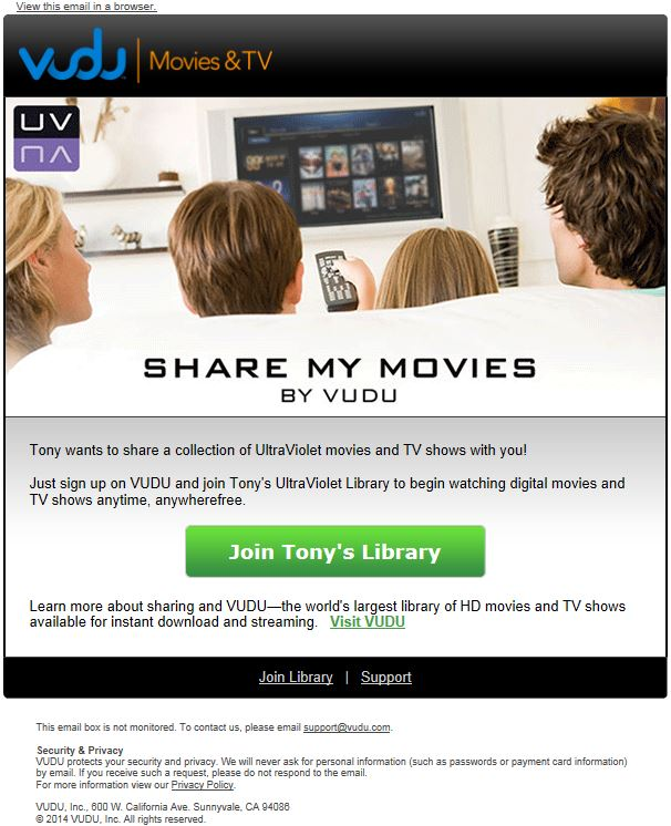 VUDU Adds an UltraViolet Movie Sharing Option
