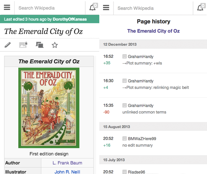wikimob Wikipedia tweaks mobile design to put emphasis on contributors