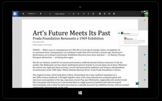 word1 520x324 Microsofts touch first Modern Office suite revealed in documents