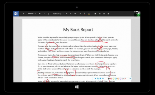 wordink 520x321 Microsofts touch first Modern Office suite revealed in documents