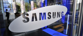 A logo of Samsung Electronics is seen on