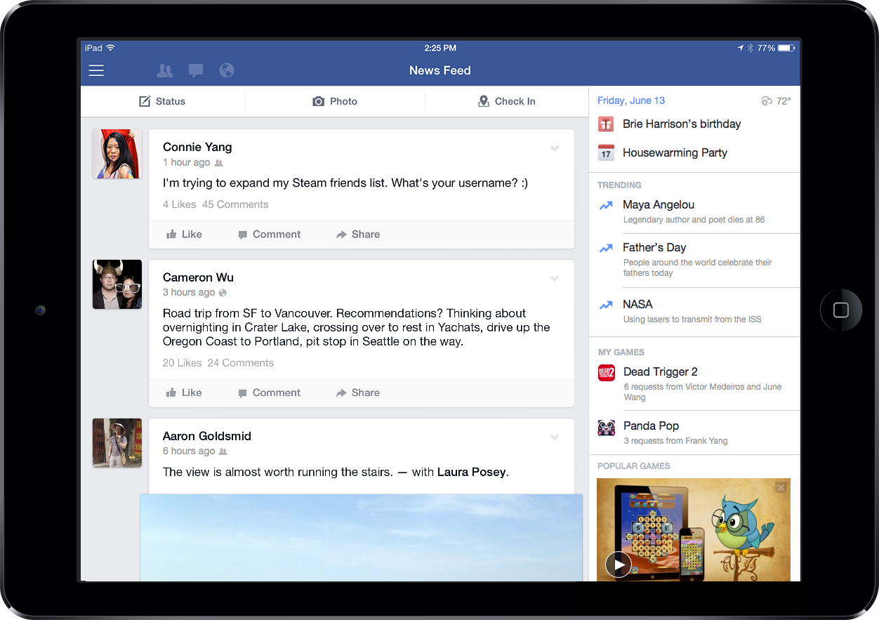 851595 673295126074943 61472491 n Facebook updates iPad app with trending topics, videos, and games in new right hand column for landscape mode