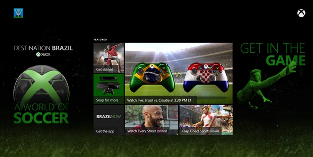 Destination Brazil Dash FINAL 52914 Destination Brazil is the Xbox One portal for all things World Cup related, launching June 12