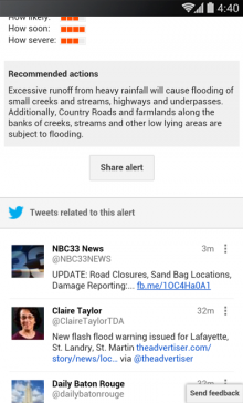 Flood Warning in Southwest Louisiana3 mobile nexus5 tweets1 220x364 Googles Public Alerts now display tweets in times of crisis