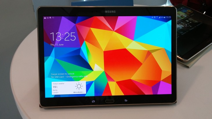 GalaxyTabS10 front 730x410 Hands on with Samsung's 8.4 inch and 10.5 inch Galaxy Tab S: Thinner and lighter than Apples iPads