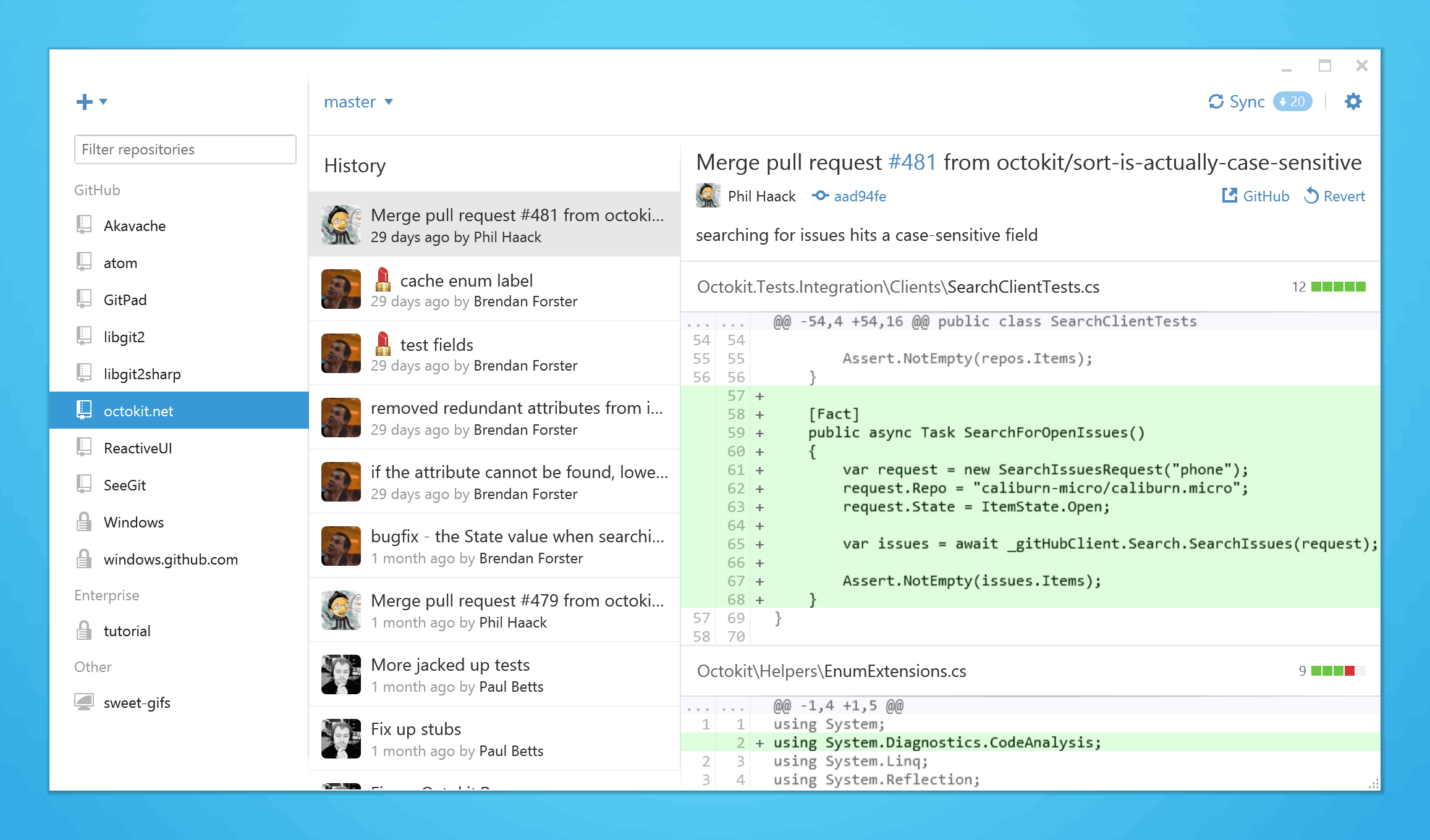 GitHub for Windows 2.0 screenshot GitHub redesigns its Windows app to put your work front and center, adds emoji and gif support