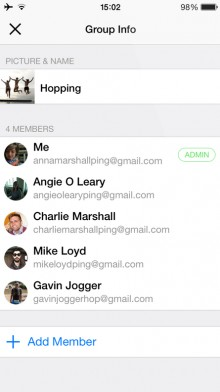 Hop Groups 2 220x392 IM style email app Hop now supports group chat and collaboration