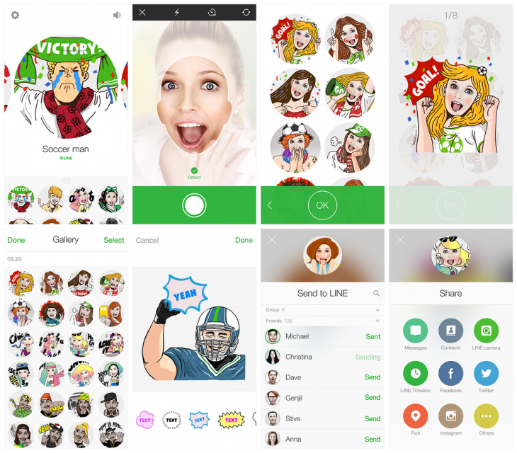 Line Selfie Sticker 730x640 Chat app Line rakes in $1.5m in just one month of users creating and selling their own stickers