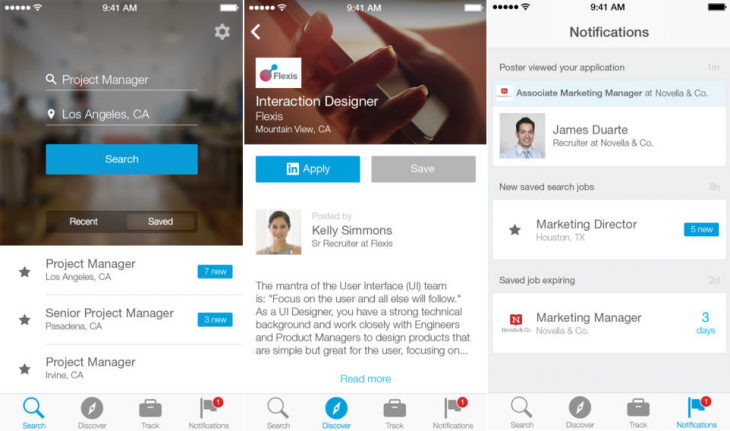 LinkedInJobSearch 730x431 LinkedIn launches a new Job Search iPhone app in the US
