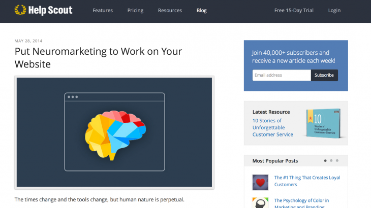 Put Neuromarketing to Work on Your Website   Help Scout 730x410 The experts guide on how to grow a massive email list