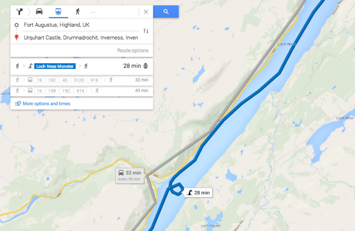 Screen Shot 2014 06 04 at 10.00.09 730x476 Google Maps new transport options: A dragon, the Loch Ness Monster and a royal carriage