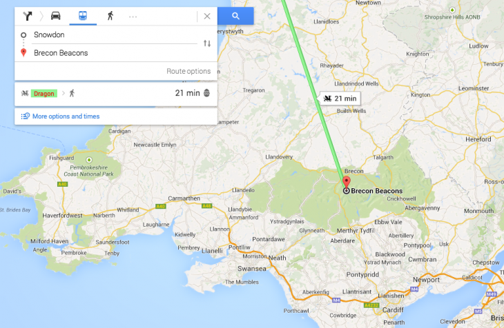 Screen Shot 2014 06 04 at 10.06.18 730x476 Google Maps new transport options: A dragon, the Loch Ness Monster and a royal carriage